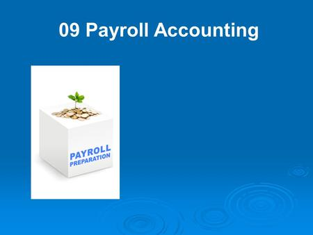 09 Payroll Accounting. It's a fact of business–if a company has employees, it has to account for payroll and fringe benefits.