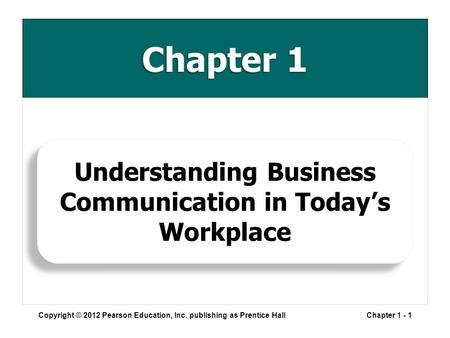 Chapter 1 Copyright © 2012 Pearson Education, Inc. publishing as Prentice HallChapter 1 - 1 Understanding Business Communication in Today's Workplace.
