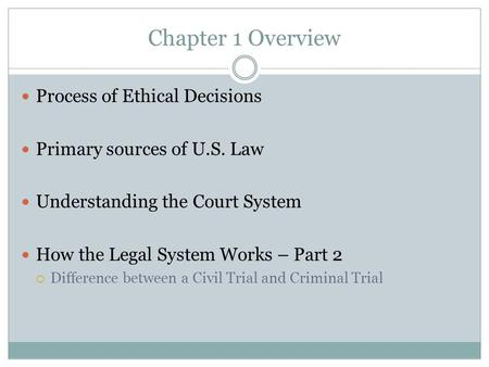 Chapter 1 Overview Process of Ethical Decisions