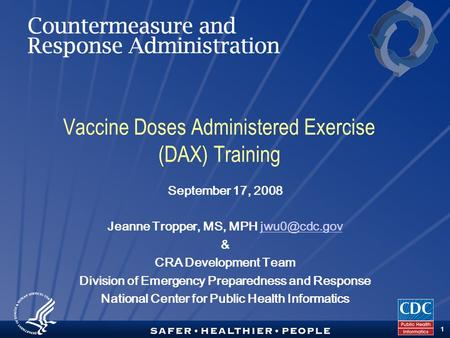 TM 1 Vaccine Doses Administered Exercise (DAX) Training September 17, 2008 Jeanne Tropper, MS, MPH & CRA Development Team Division.