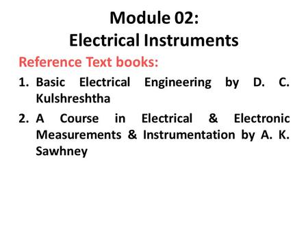 Module 02: Electrical Instruments