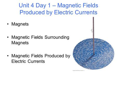 Unit 4 Day 1 – Magnetic Fields Produced by Electric Currents Magnets Magnetic Fields Surrounding Magnets Magnetic Fields Produced by Electric Currents.