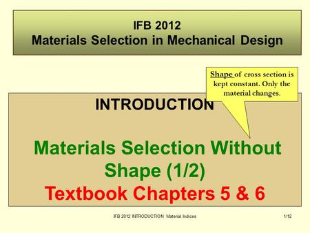 IFB 2012 INTRODUCTION Material Indices1/12 IFB 2012 Materials Selection in Mechanical Design INTRODUCTION Materials Selection Without Shape (1/2) Textbook.