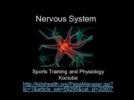 Nervous System Sports Training and Physiology Kociuba  lic=1&article_set=59295&cat_id=20607.