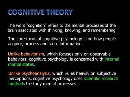 "The core focus of cognitive psychology is on how people acquire, process and store information. The word ""cognition"" refers to the mental processes of."