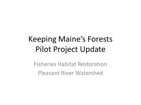 Keeping Maine's Forests Pilot Project Update Fisheries Habitat Restoration Pleasant River Watershed.