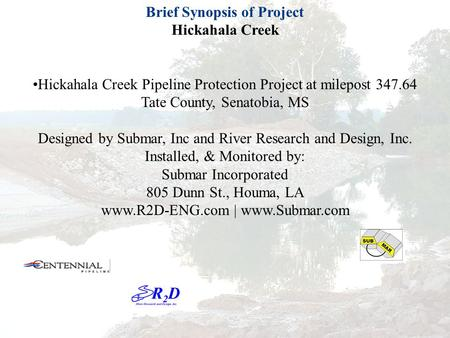 Brief Synopsis of Project Hickahala Creek Hickahala Creek Pipeline Protection Project at milepost 347.64 Tate County, Senatobia, MS Designed by Submar,