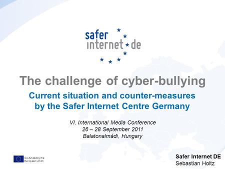 Co-funded by the European Union The challenge of cyber-bullying Current situation and counter-measures by the Safer Internet Centre Germany VI. International.