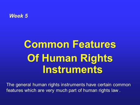 Of Human Rights Instruments