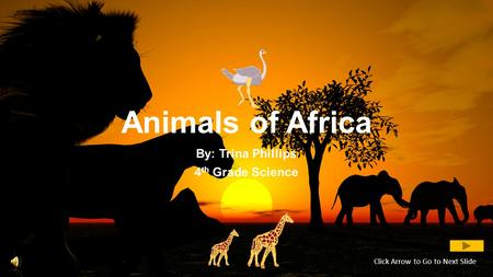 Animals of Africa By: Trina Phillips 4 th Grade Science Click Arrow to Go to Next Slide.