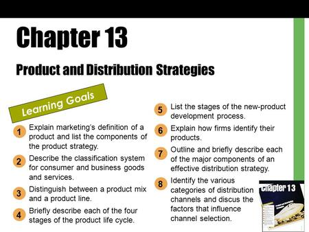 Chapter 13 Product and Distribution Strategies Learning Goals Explain marketing's definition of a product and list the components of the product strategy.