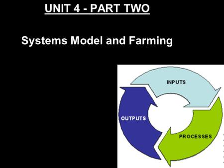 UNIT 4 - PART TWO Systems Model and Farming What is the Systems Model? Systems model is a model of looking at any system (farming, oil production, tire.