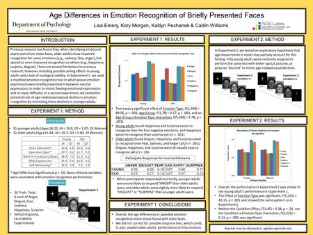 Age Differences in Emotion Recognition of Briefly Presented Faces Lisa Emery, Kory Morgan, Kaitlyn Pechanek & Caitlin Williams Reprints may be obtained.