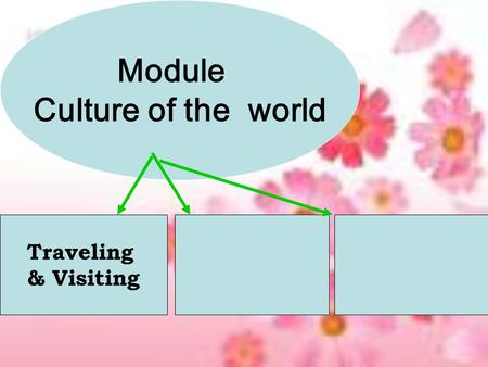 Module Culture of the world Traveling & Visiting.
