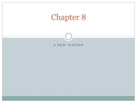 Chapter 8 A New Nation.