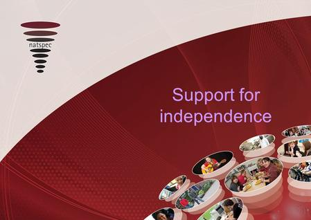 Support for independence. Lessons from the Enhancement of Learning Support project LSIS funded project Phase 1 initial research led by Natspec Phase 2.
