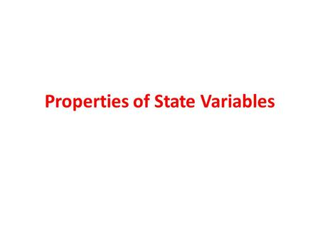 Properties of State Variables