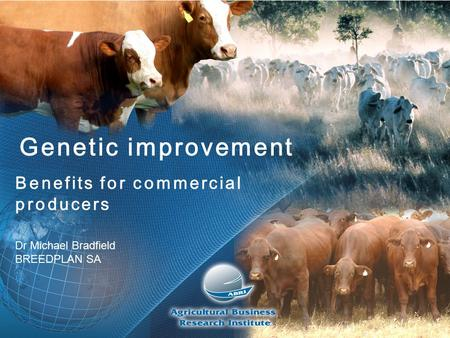 Genetic improvement Benefits for commercial producers Dr Michael Bradfield BREEDPLAN SA.