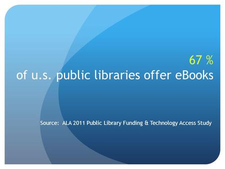 67 % of u.s. public libraries offer eBooks Source: ALA 2011 Public Library Funding & Technology Access Study.