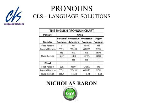 PRONOUNS CLS – LANGUAGE SOLUTIONS NICHOLAS BARON.