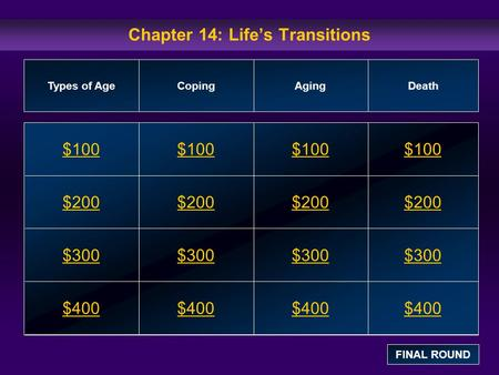 Chapter 14: Life's Transitions $100 $200 $300 $400 $100$100$100 $200 $300 $400 Types of AgeCopingAgingDeath FINAL ROUND.