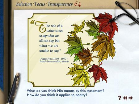 Selection Focus Transparency 1-1 Literary Elements Transparency 1-1.