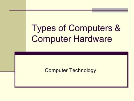 Types of Computers & Computer Hardware Computer Technology.