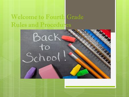 Welcome to Fourth Grade Rules and Procedures. Entering the Classroom  Drop off your homework in the basket.  Hang jackets and backpacks in the closet.