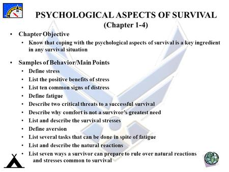 PSYCHOLOGICAL ASPECTS OF SURVIVAL (Chapter 1-4)