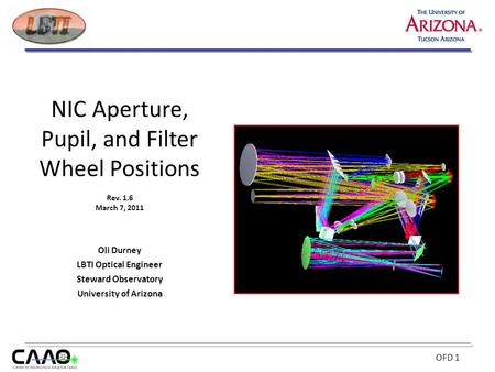 NIC Aperture, Pupil, and Filter Wheel Positions