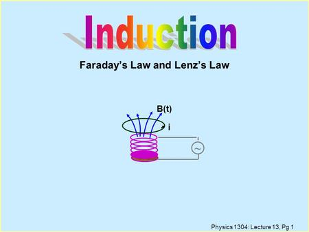 Physics 1304: Lecture 13, Pg 1 Faraday's Law and Lenz's Law ~ B(t) i.