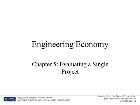 Chapter 5: Evaluating a Single Project