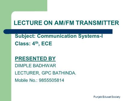 LECTURE ON AM/FM TRANSMITTER