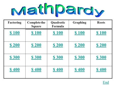 FactoringComplete the Square Quadratic Formula GraphingRoots $ 100 $ 200 $ 300 $ 400 End.