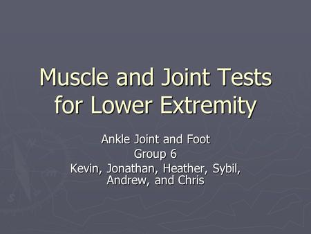 Muscle and Joint Tests for Lower Extremity Ankle Joint and Foot Group 6 Kevin, Jonathan, Heather, Sybil, Andrew, and Chris.
