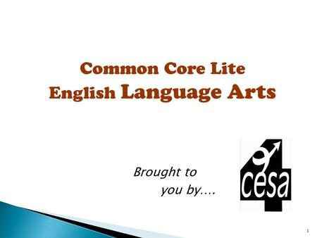 1 Common Core Lite English Language Arts Brought to you by….