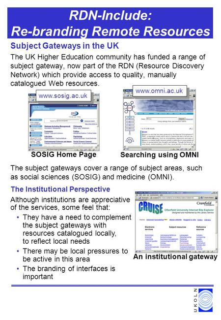 RDN-Include: Re-branding Remote Resources Subject Gateways in the UK The UK Higher Education community has funded a range of subject gateway, now part.