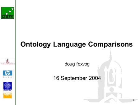 1 Ontology Language Comparisons doug foxvog 16 September 2004.