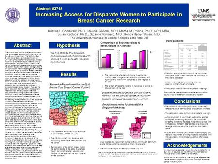 Abstract #3715 Increasing Access for Disparate Women to Participate in Breast Cancer Research Hypothesis Kristina L. Bondurant, Ph.D., Melanie Goodell,