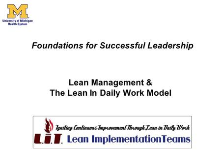 Lean Management & The Lean In Daily Work Model