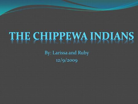 The Chippewa Indians By: Larissa and Ruby 12/9/2009.