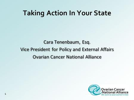 Taking Action In Your State 1 Cara Tenenbaum, Esq. Vice President for Policy and External Affairs Ovarian Cancer National Alliance Cara Tenenbaum, Esq.