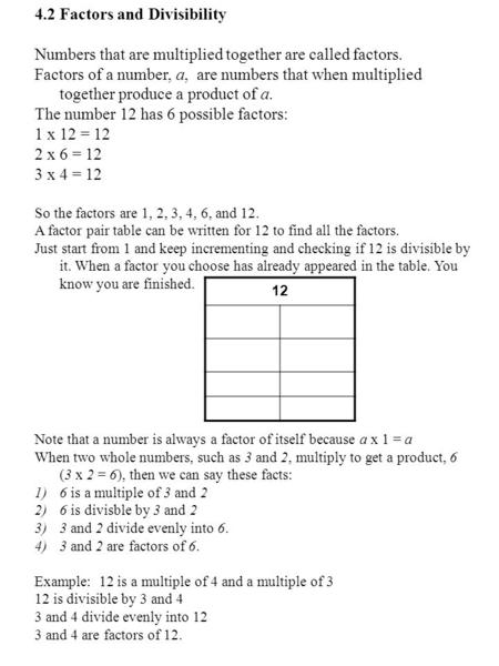 4.2 Factors and Divisibility