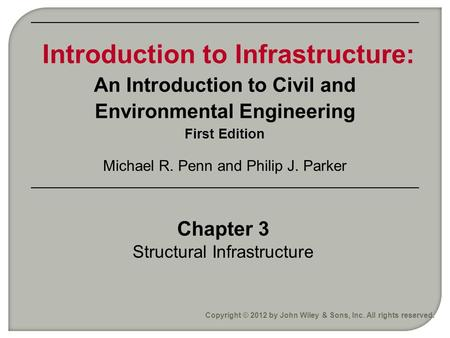 Chapter 3 Structural Infrastructure Copyright © 2012 by John Wiley & Sons, Inc. All rights reserved. Introduction to Infrastructure: An Introduction to.