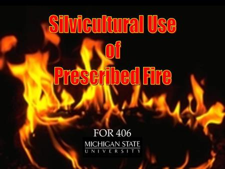 FOR 406. Tend RegenerateHarvest Prescribed burning is... Applied in a skillful manner At a definite location & time Under pre-defined weather conditions.