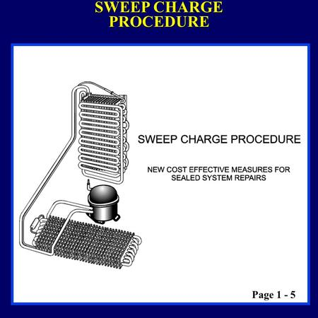 SWEEP CHARGE PROCEDURE Page 1 - 5. SWEEP CHARGE EQUIPMENT & SAFETY TANK OF LIQUID REFRIGERANT DO NOT: Drop or handle tank roughly Tamper with the safety.