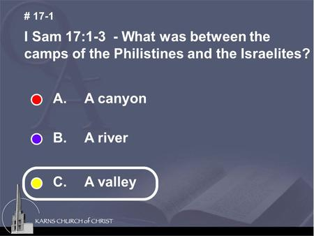 A. A canyon B. A river C. A valley I Sam 17:1-3 - What was between the camps of the Philistines and the Israelites? # 17-1.