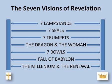 The Seven Visions of Revelation 7 LAMPSTANDS 7 SEALS 7 TRUMPETS THE DRAGON & THE WOMAN 7 BOWLS FALL OF BABYLON THE MILLENIUM & THE RENEWAL.