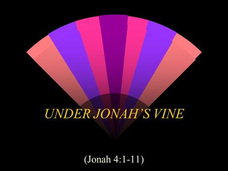 UNDER JONAH'S VINE (Jonah 4:1-11). Sequence of Events Sent to preach to Nineveh (1:1-16) Swallowed by a fish (1:17-2:10) Sent a second time (3:1-10) Displeased.