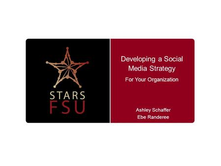 Developing a Social Media Strategy Ashley Schaffer Ebe Randeree For Your Organization.